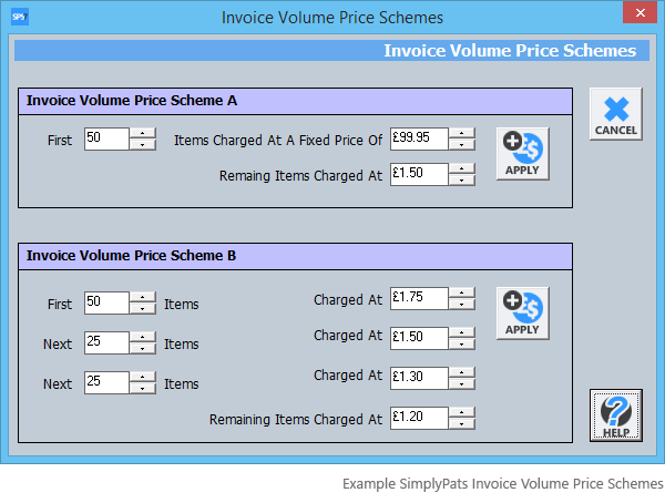 SimplyPats Volume Invoice price Schemes